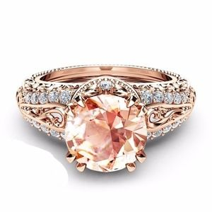 Jewelry - Size 9 - 2.65CT Champagne Zircon 14K RGP Ring